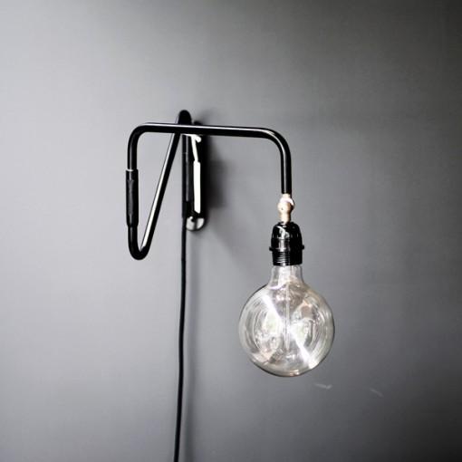tine k home v gglampa svart metall med sladd sv ngbar arm lyktor ljusstakar belysning. Black Bedroom Furniture Sets. Home Design Ideas