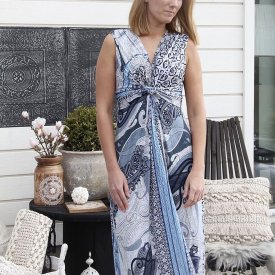 Drape Dress long, långklänning, Blue, Agency M