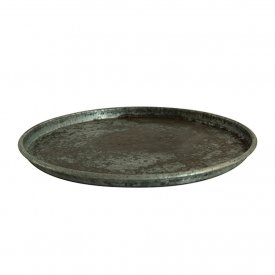Rund bricka grå metall, Old baking tray round