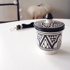 Tagine set, Svart/vit Traditionellt Rif Design