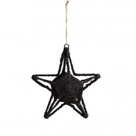 Star Ornament, Stjärna Black, Jute, Medium