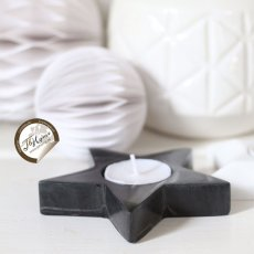Star tealight Holder, Black soapstone, Pb Home