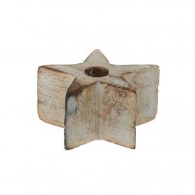 Wooden star Candle small, grey washed, OiSoiOi