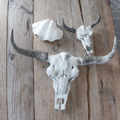Bull skull, Wall decor, decoration, White and Grey