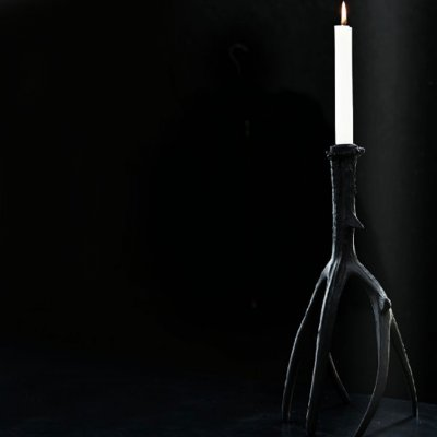 Candle Holder, Black Horn, Aspen