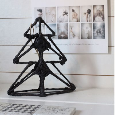 Starn Ornament, standing tree, iron, jute string, Madam Stoltz