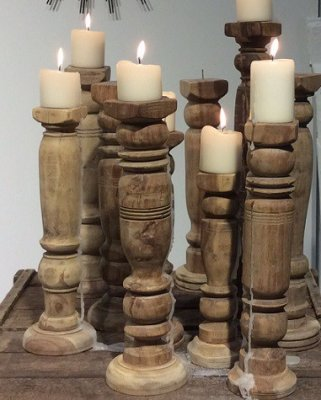 Antiqe wood candlesticks, Vintage ljusstake, bordsben, Vanilla Fly