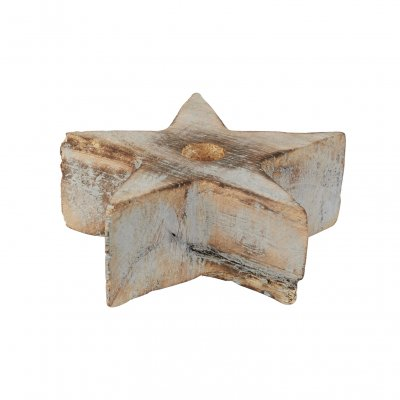 Wooden star Candle Medium, grey washed, OiSoiOi