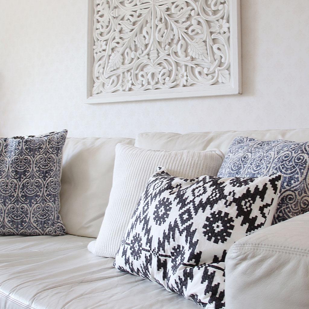 kuddfodral signpalm40 svart tine k home nyheter. Black Bedroom Furniture Sets. Home Design Ideas